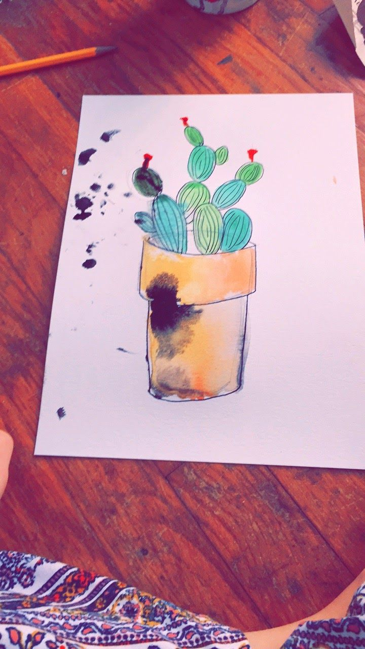cactus watercolor art by amandatalaski