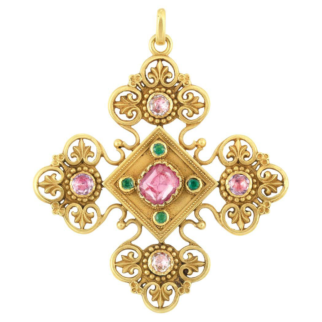 Antique gold and foiledback pink topaz and emerald pendant