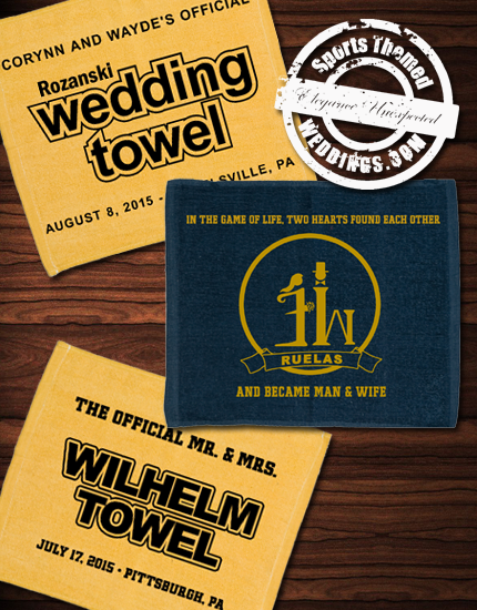 Wedding Guest Favors - Custom Rally Towels from SportsThemedWeddings.com  #baseballwedding  #stwdotcom