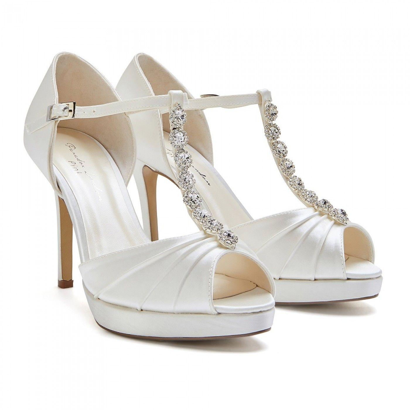 a04686774d7 Pink Paradox Cindy Ivory Satin High Heel Crystal T-Bar Platform ...