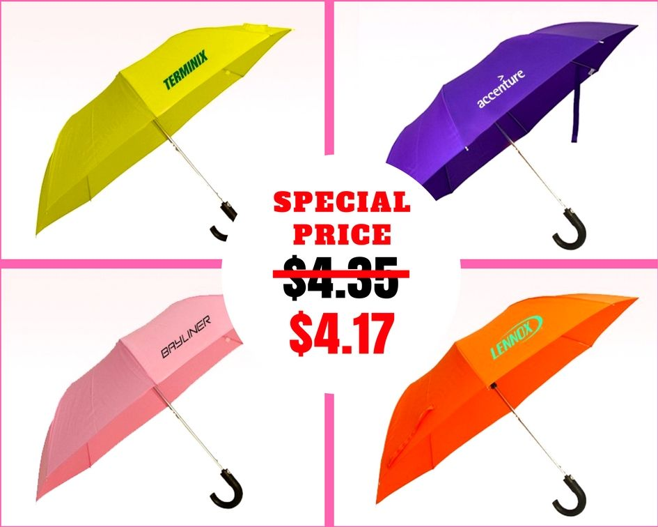 41 Inch Arc Personalized Auto Open Folding Umbrellas With Hook Handle Folding Umbrella Handle Branding