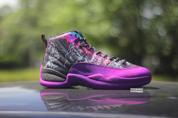 The Air Jordan Space Jam theme continues with the help of Rocket Boy Nift  and his latest color changing Air Jordan 12 Space Jam Rocket Boy Nift Custom