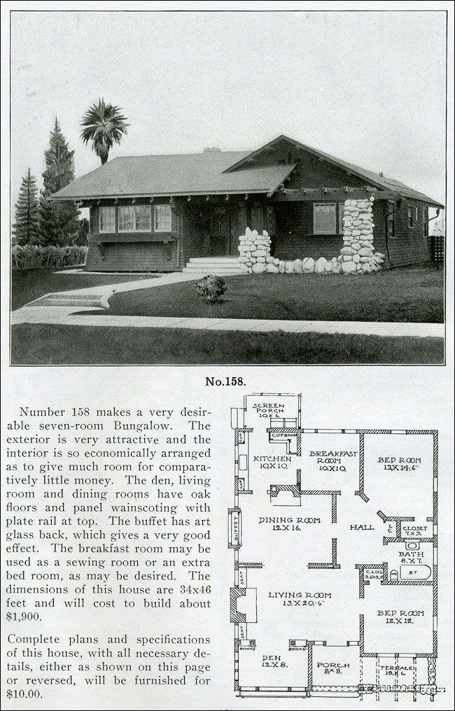 1910 The Bungalow Book Wilson Design No 158 Modest One Story House Vintage House Plans Craftsman House Plans Story House