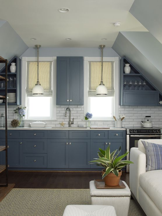 Gorgeous Blue Kitchen With Blue Cabinets Accented With Brushed