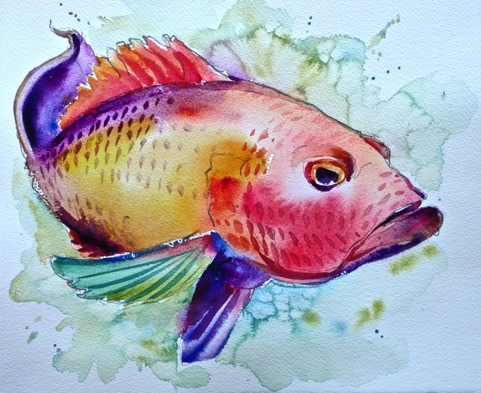More Fish In My Net Watercolor Fish Watercolor Paintings For