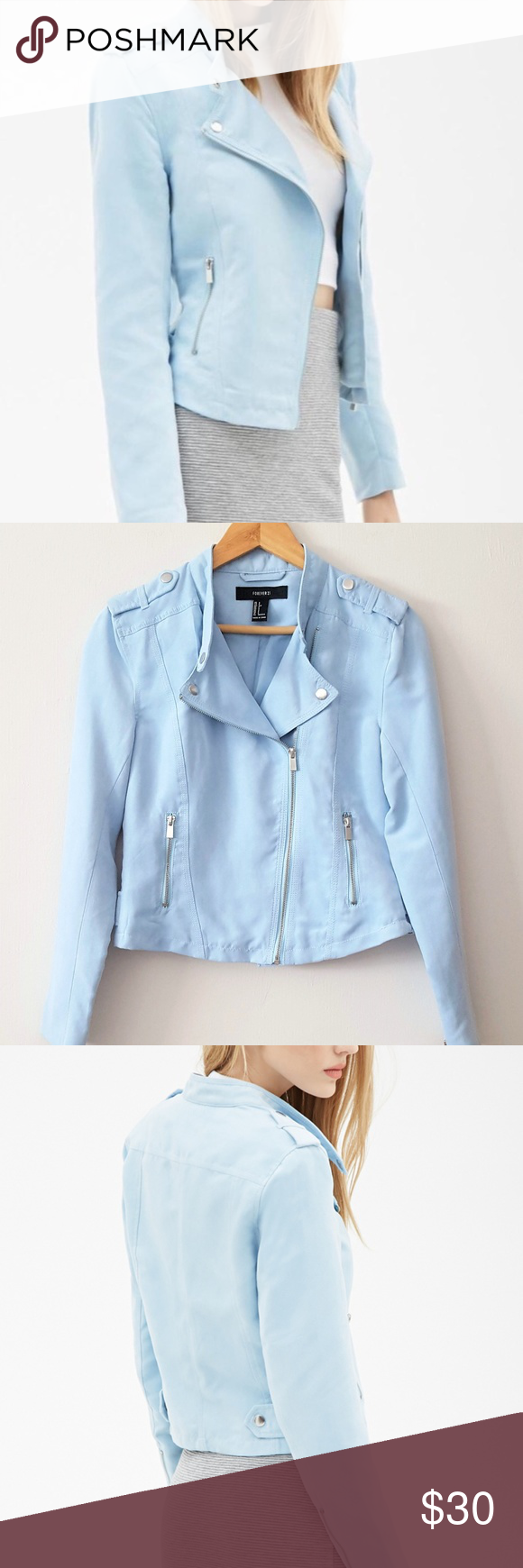 20a40d839 Nwot forever 21 baby blue faux suede moto jacket