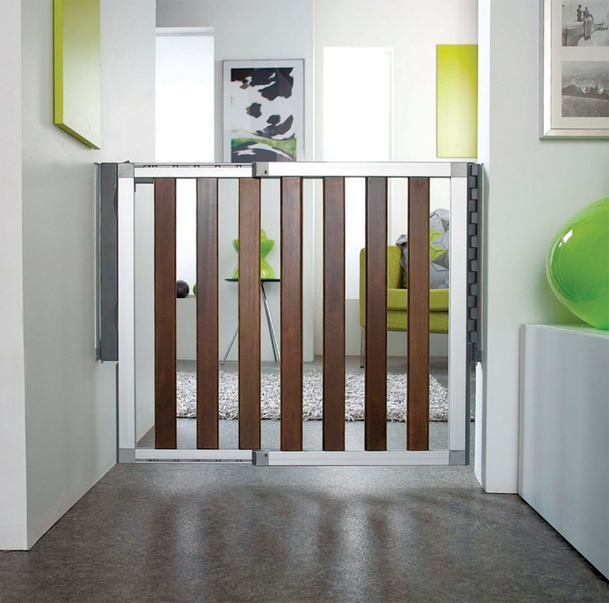 stylish child proofing  loft baby gate from munchkin childsafety  - chic babyproofing sounds like an oxymoron but now there's a baby gate withsleek styling to appeal to your modern aesthetic meet the loft® aluminumgate