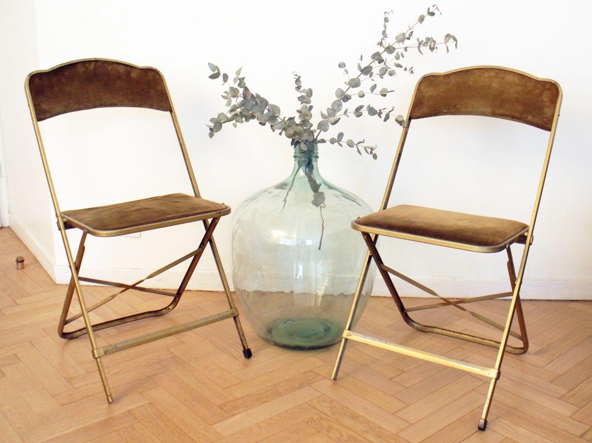 Paire De Chaises Vintage Pliables Metal Dore 70 S Chaise Vintage