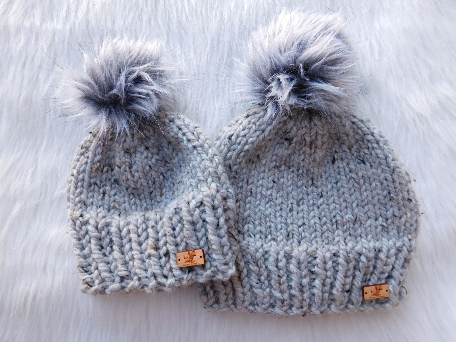 fea88b32374015 Matching hats.Mommy and Me hats. Mini me and Me hat. Mom/Son hats.Mom  daughter hats. Solid color with pom pom hats. by NataliaTreasures on Etsy