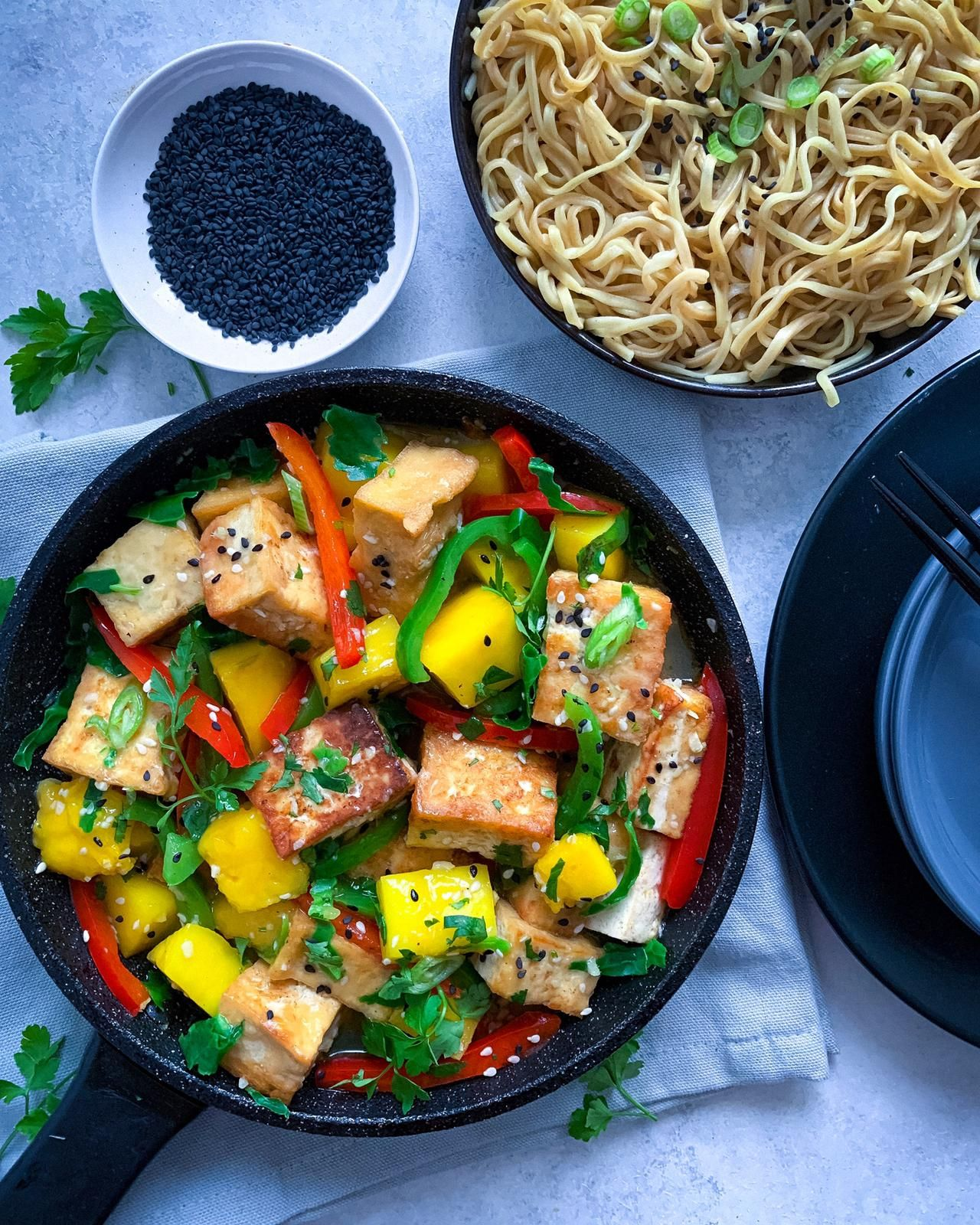 Vegan Mango Tofu With Noodles