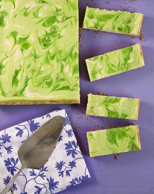 Key Lime swirl cheesecake bars, sounds like a new summer staple!
