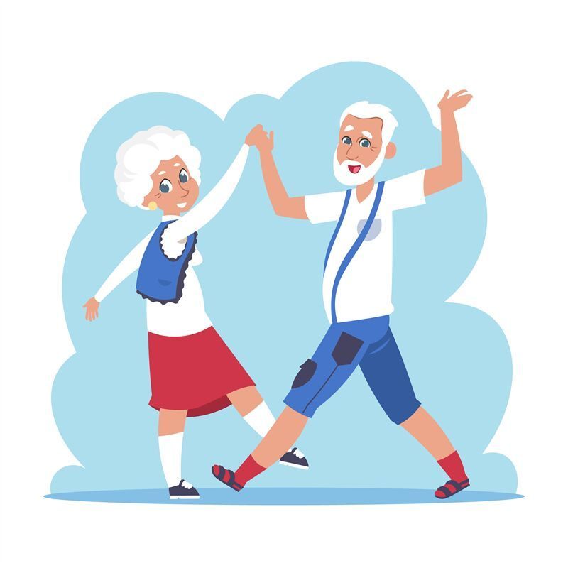 Old Couple Dancing Cartoon Happy Granny And Grandpa Dancing Flat Eld By Spicytruffel Thehungryjpeg Com Happy Affiliate Couple Dancing Old Couples Cartoon