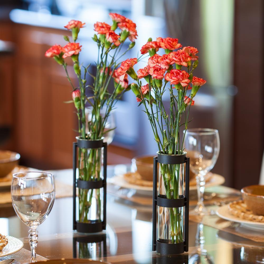 Danya B Urbanne Rustic Black Metal Glass Cylinder Decorative Vases Set Of 2 Glass Cylinder Vases Vases Decor Vase Set