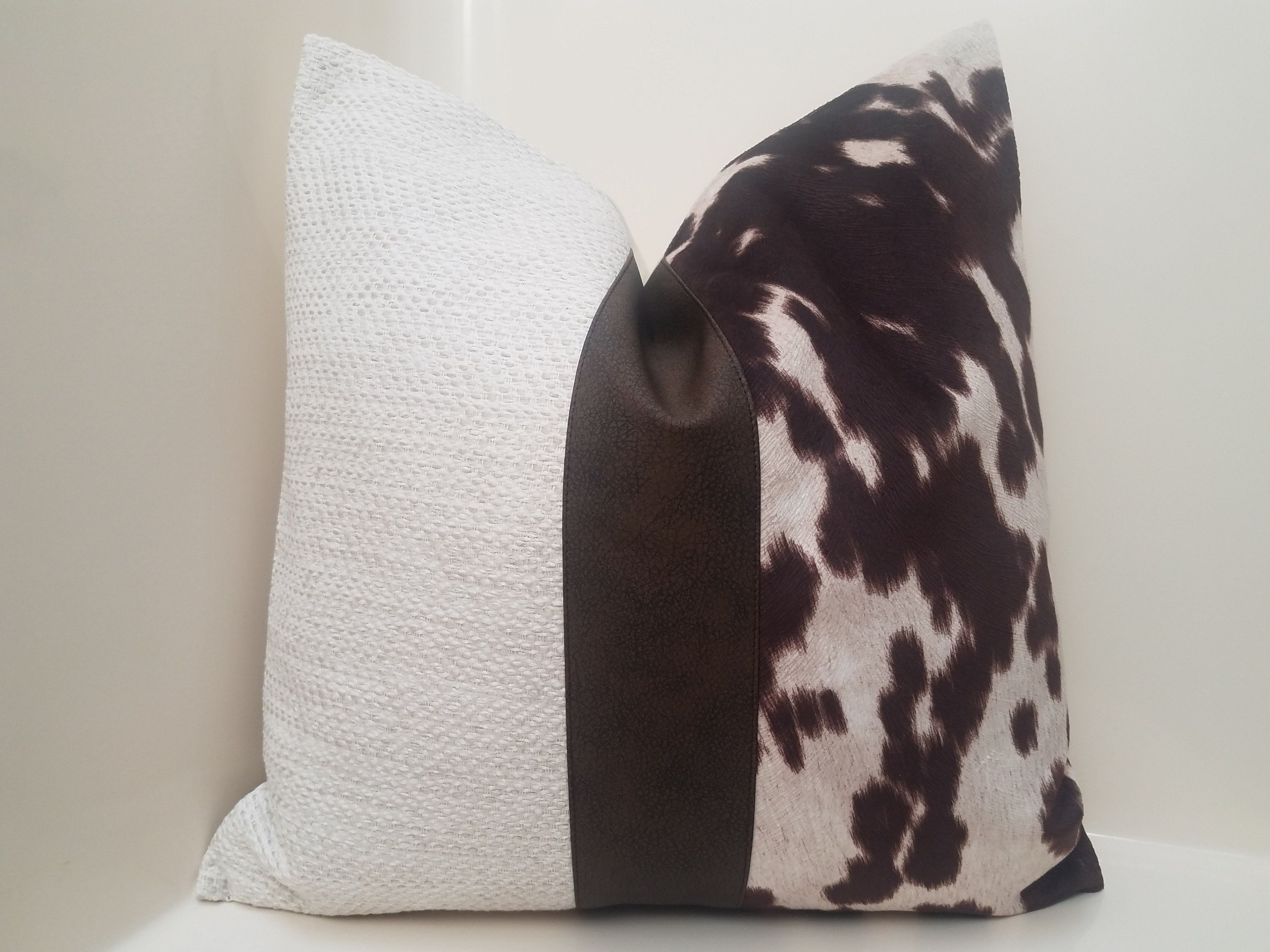 Cow Pillow Cover Faux Leather Pillow Tribal Throw Pillow Etsy In 2020 Tribal Throw Pillows Leather Pillow Throw Pillows