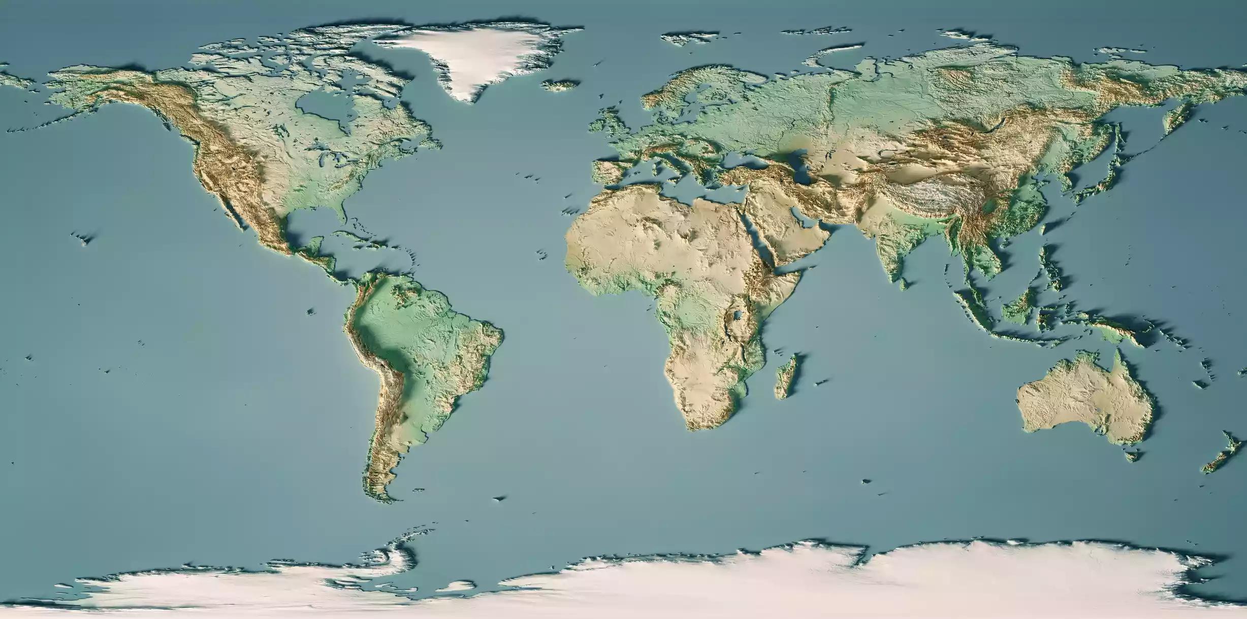 Topographic World Map 3d Model Uk