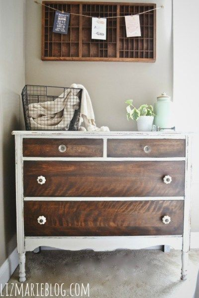 two tone furniture painting. Two-tone Dresser // How To Strip Painted Furniture From Liz Marie Blog Two Tone Painting R