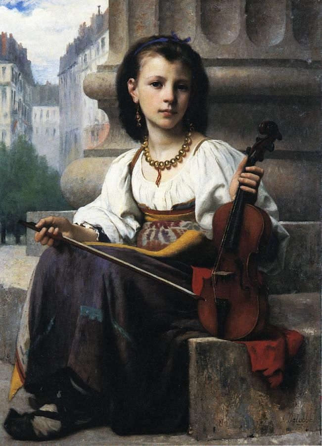 The Young Musician, Francois Alfred Delobbe (1876), Private collection Painting - oil on canvas