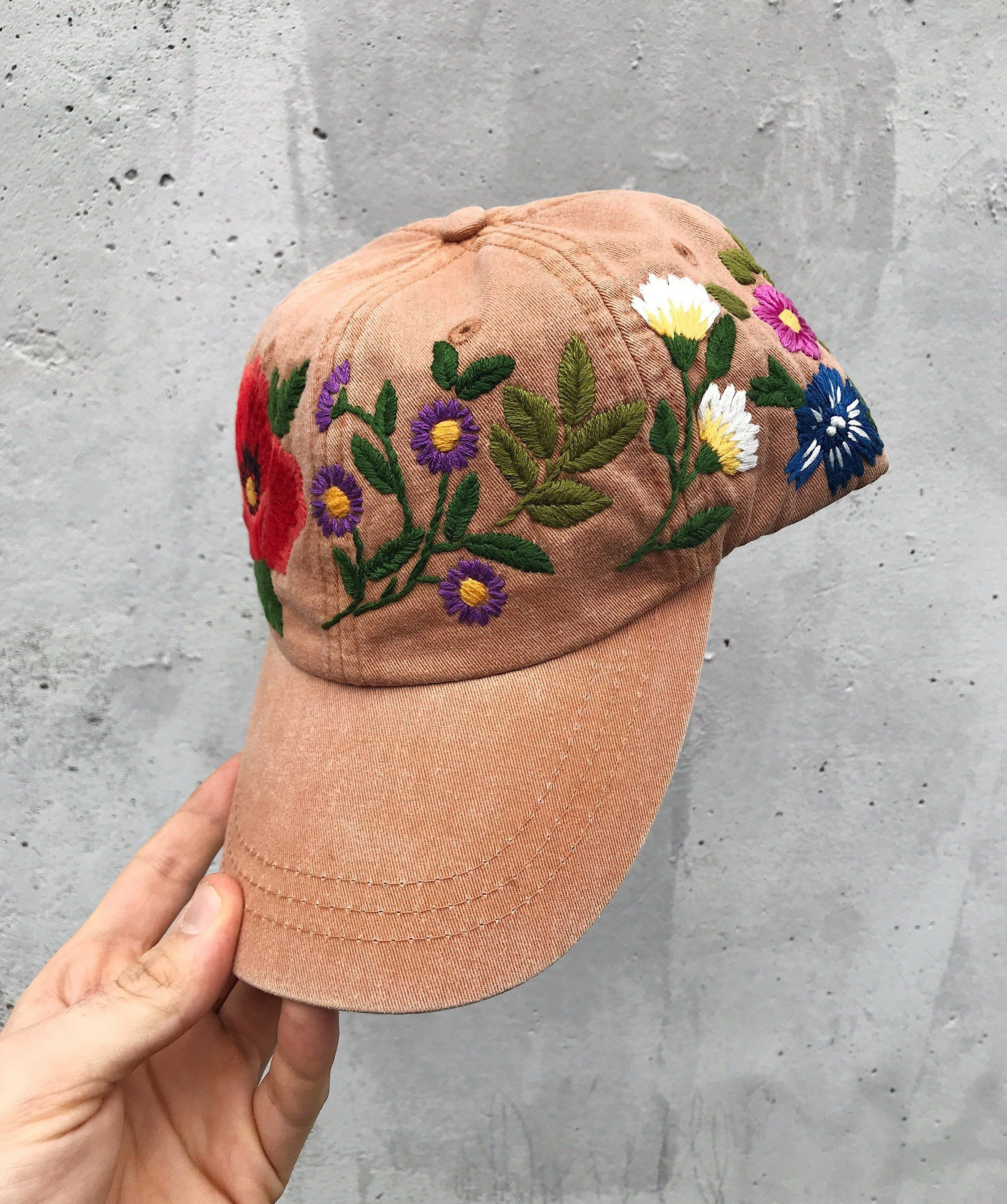 Hand Embroidered Hat Embroidered Baseball Caps Custom Etsy Custom Embroidered Hats Embroidered Hats Hand Embroidered