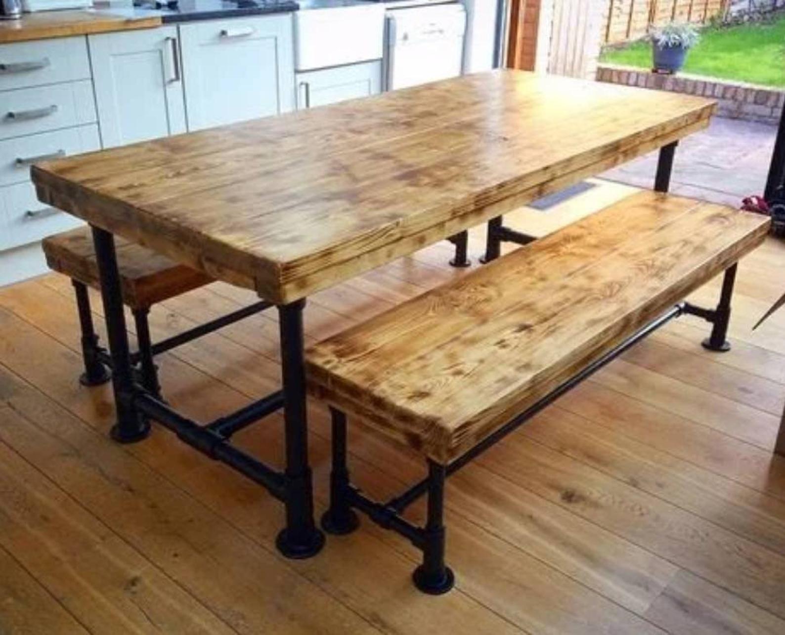 Table Banc De Cuisine dining table and benches | tables de cuisine rustique, table