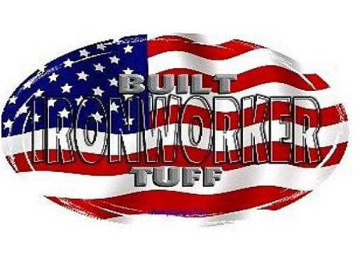 Vinyl Ironworker Hardhat Sticker American Flag Pack of 8 | Iron