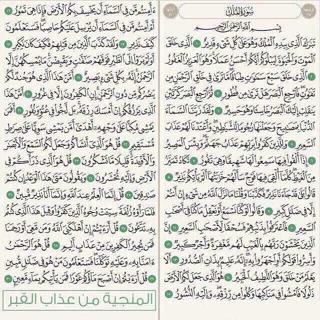 سورة الملك المنجية من عذاب القبر Holy Quran Book Quran Book Islam Facts