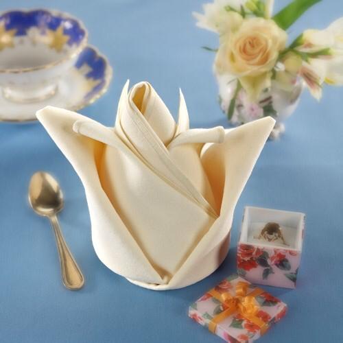 Rosebud Fold - Luigi's Napkins   Fancy napkin folding, Cloth napkin folding, Napkins
