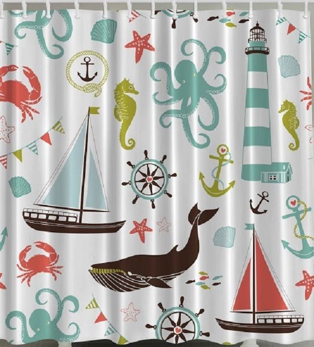 Anchor Sailboat Crab Fabric Shower Curtain Seahorse Whale Starfish