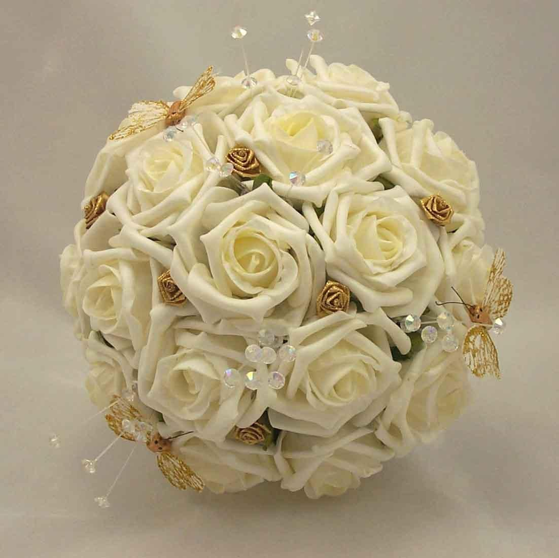 Bouquet Sposa Rose Avorio.Butterfly Bouqet Bridesmaids Bouquets Ivory Rose Gold