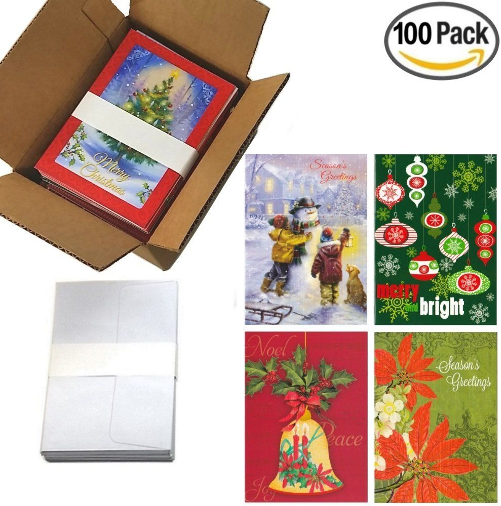 100 Wholesale Traditional Christmas Cards with Envelopes: Classic Holiday Designs, General Audience, on Recycled Paper (Assortment 1) > Stop everything and read more details here! : Christmas Gifts