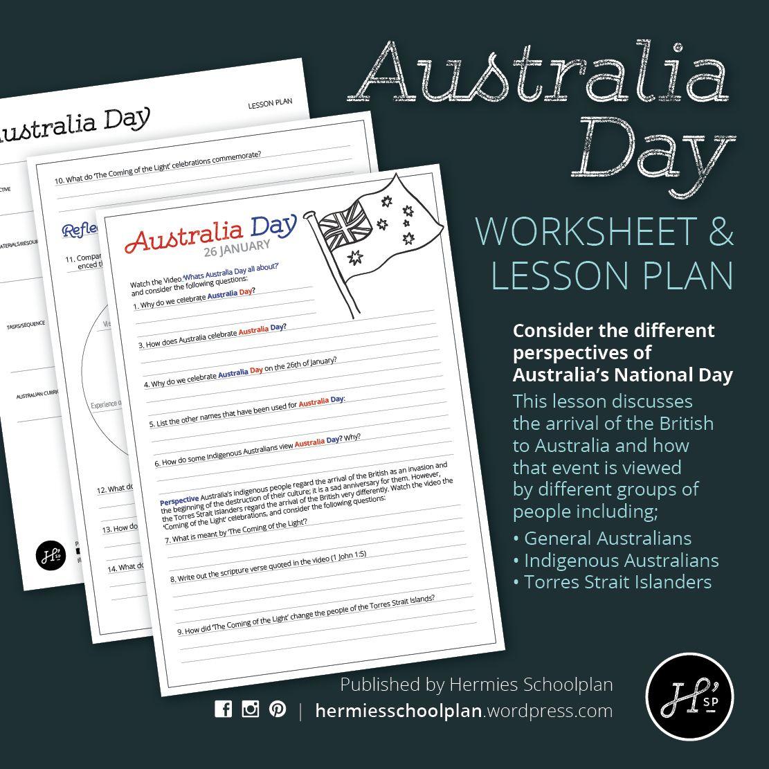 Australia Day Lesson And Worksheet
