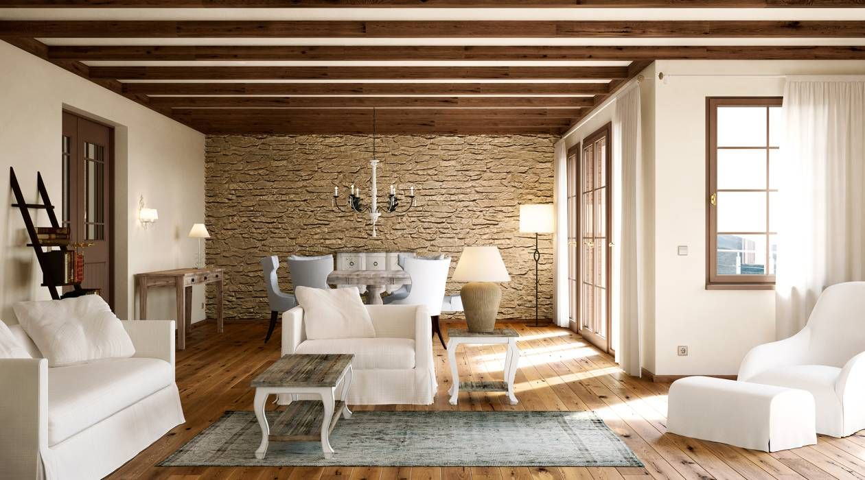 holz stein und sanfte natrliche farben sind ein muss fr ein modernes wohnzimmer im - Modernes Wohnzimmer Im Landhausstil