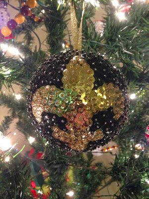 New Orleans Saints sequined ornament. Sequin Ornaments, Holiday Ornaments,  First Monday, Christmas - New Orleans Saints Sequined Ornament. Christmas/winter Pinterest
