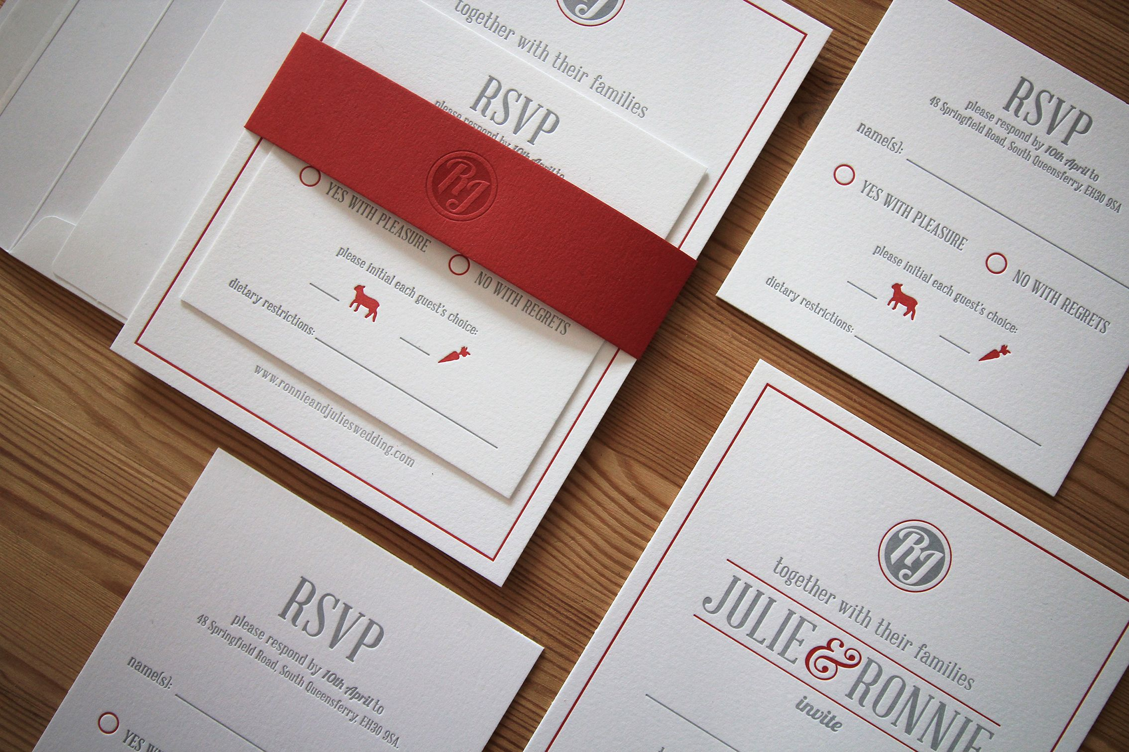 Custom Designed Invitation Suite. Letterpress Printed on 100% Cotton ...