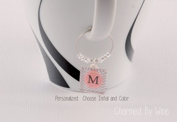Chevron Initial Wine Charms  Choose initial and by CharmedByWine, $2.50