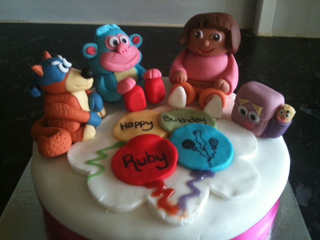 Dora the Explorer Cake - Cake toppers made out of fondant. My 3rd ever fondant cake. Had to be super simple as it was being sent in the post from one end of the country to the other!
