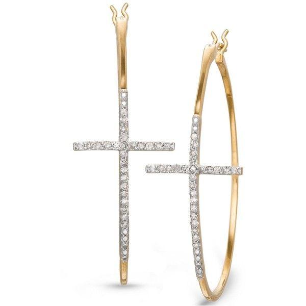 Yellora Diamond Small Cross Hoop Earrings In 1 4 Ct T W