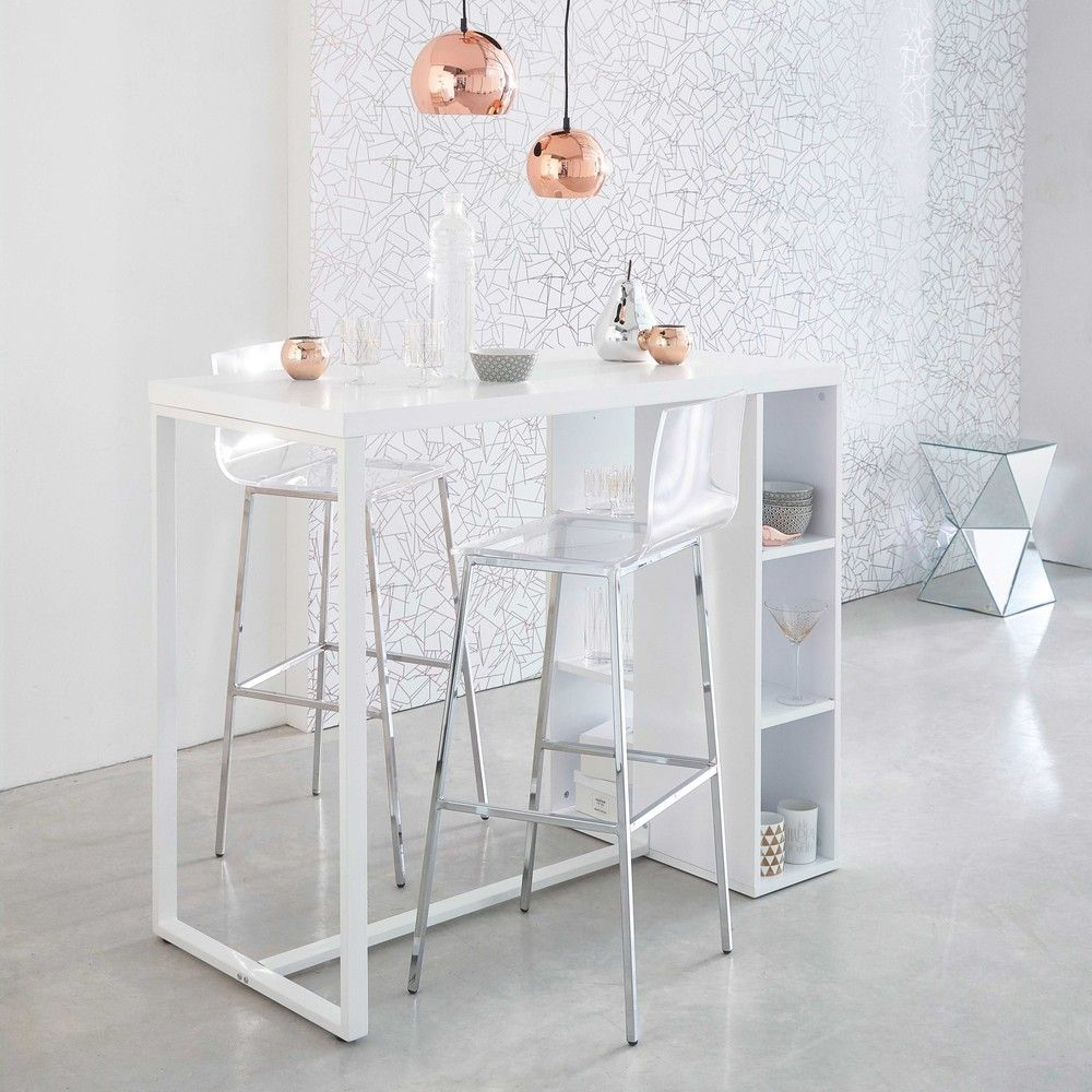 Table à manger haute blanc satiné 2/3 personnes L120 | Appartement