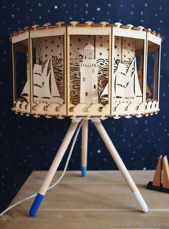 Nautical Nursery Rotating Lamp Desk