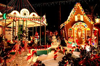 a homemade carousel and gingerbread house are among the attractions at the first place jensen home best christmas lightsholiday - Christmas Lights In Santa Clarita