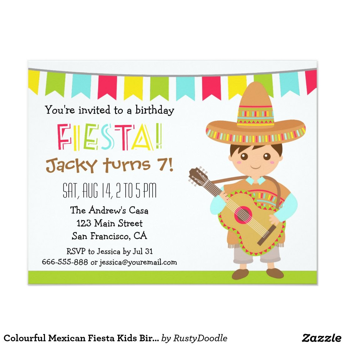 Colourful Mexican Fiesta Kids Birthday Party 425 X 55 Invitation