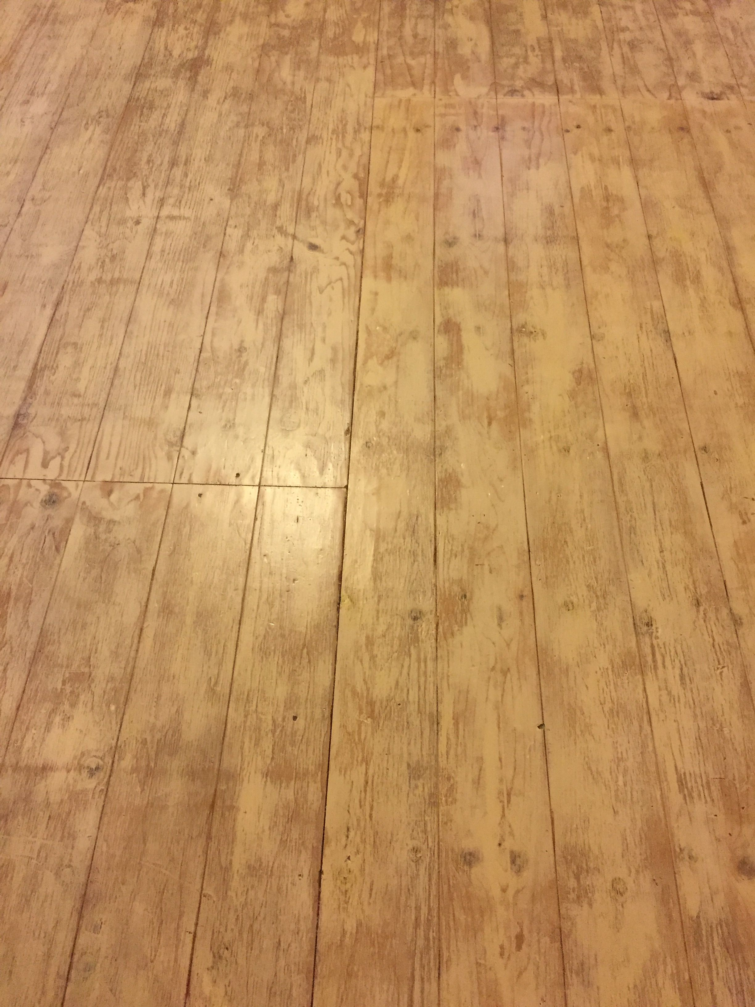 Whitewash Plywood Subfloor Faux Planks Routed In Using 1 8 Deep V Groove Bit And A Sled Jig As A Gui Painted Wood Floors Faux Wood Flooring Plywood Flooring