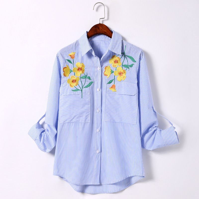 2017 Women Long Sleeve Flower Embroidery Shirt Fashion Lady Blue Striped Blouse Quality Guarantee MS796