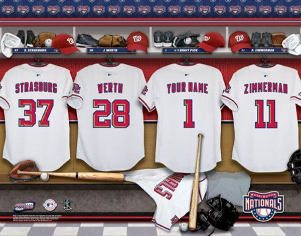 Washington Nationals MLB Baseball - Personalized Locker Room Print / Picture. Have you or someone you know ever dreamed about playing next to your favorite Washington Nationals players. You or someone you know can be right there in the locker room with Washington Nationals players! Optional framing with mat is available. Perfect for gifts, rec room, man cave, office, child's room, etc.  (http://www.oakhousesportsprints.com/washington-nationals-locker-room-print/)