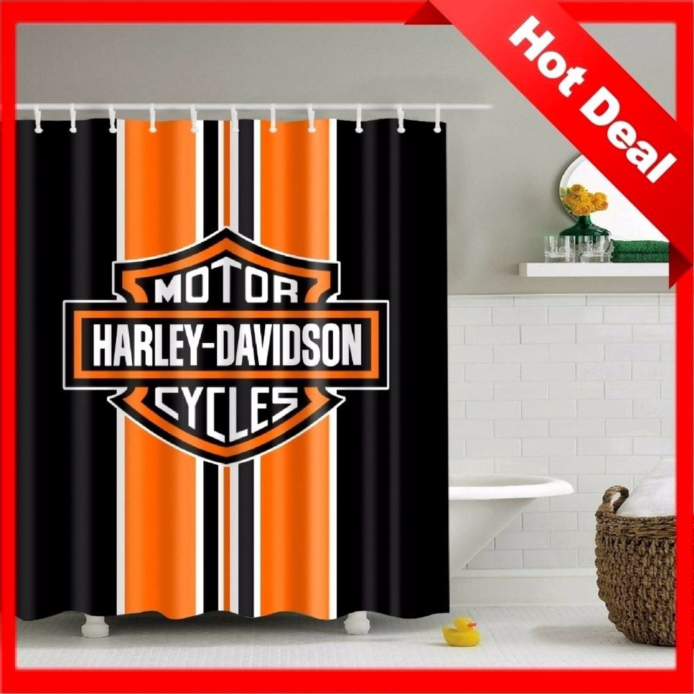 Bathroom Vanities Curtain Harley Davidson Logo Pattern Waterproof With Hooks 71 Bathr Bathroom Shower Curtains Fabric Shower Curtains Designer Shower Curtains