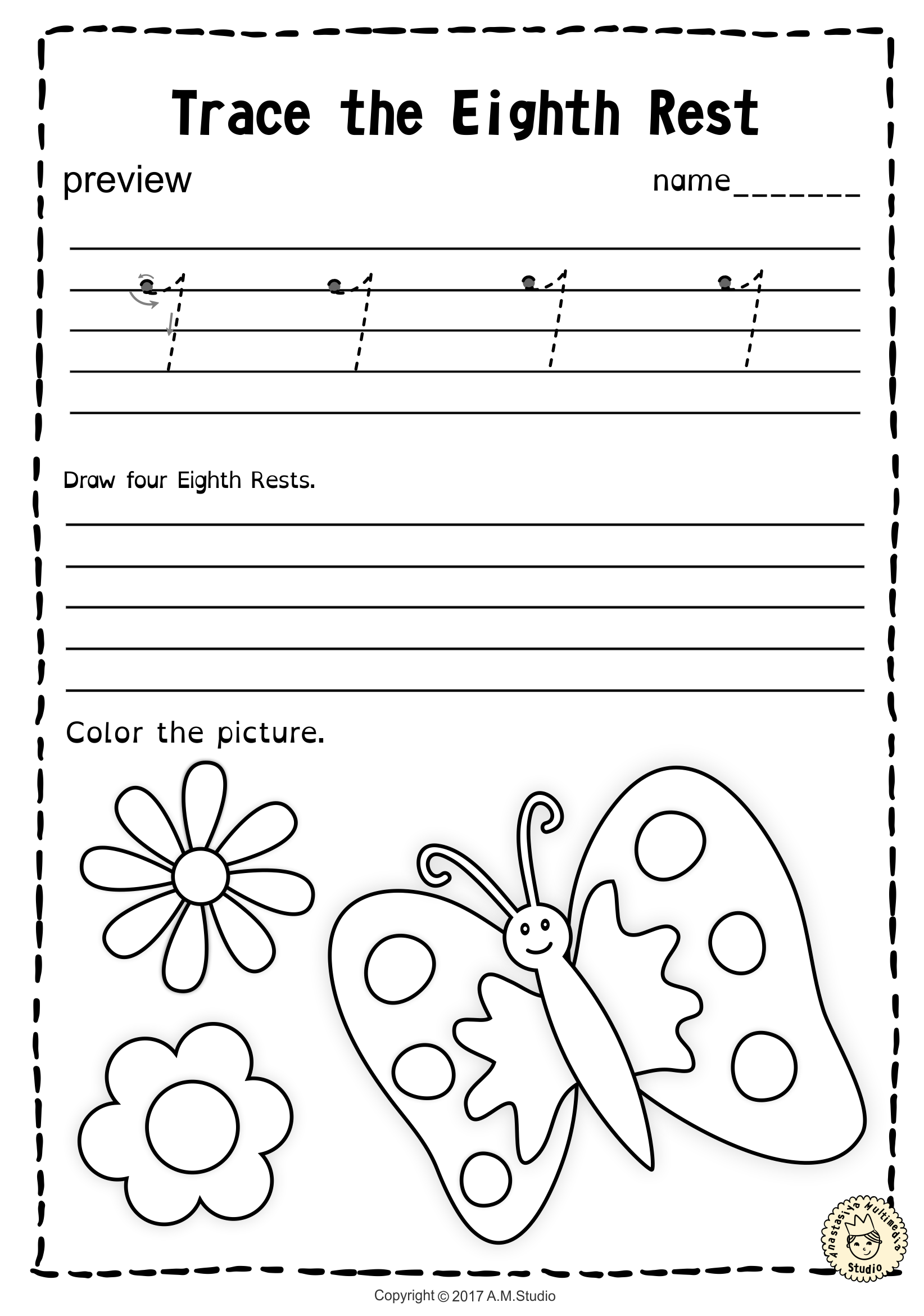 Tracing Music Notes Worksheets For Spring Alegria Musical