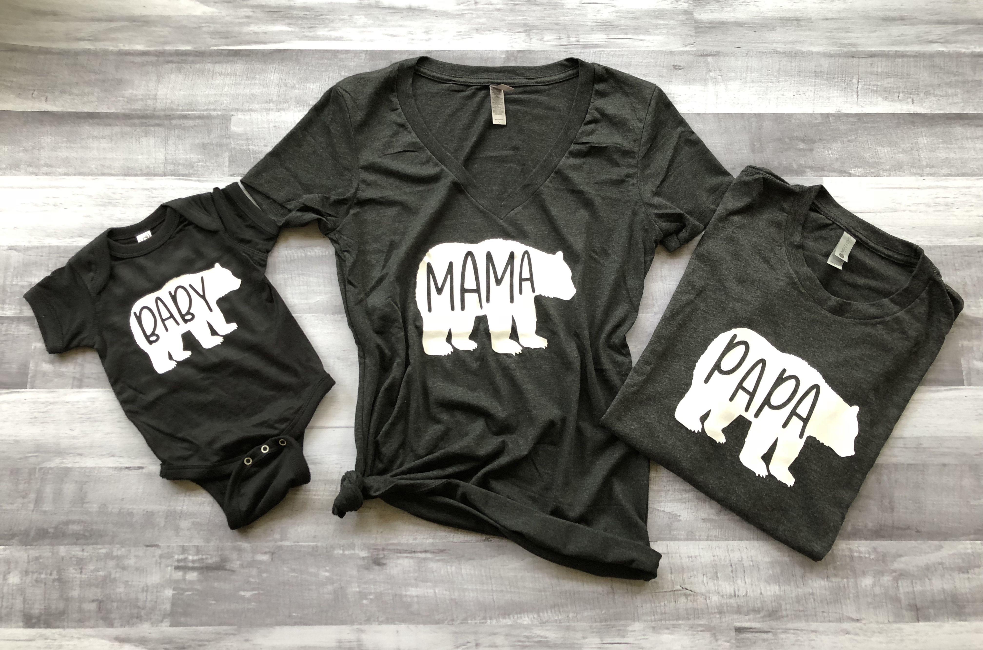 Mama Papa Baby Bear Set of 3, mama bear shirt, baby bear