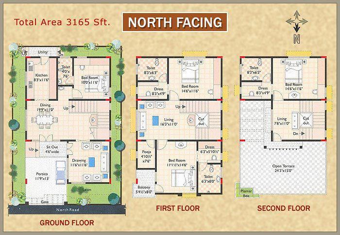 House plan for north facing house according to vastu - Vastu shastra home design and plans ...