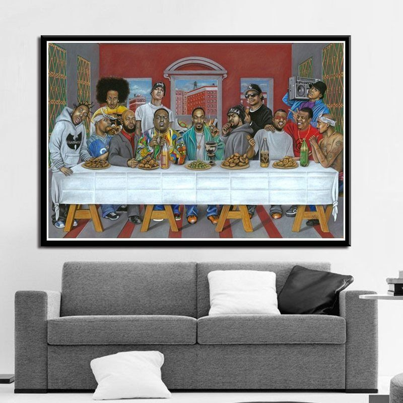 Poster And Prints Hip Hop Music Rapper Star Legend The Last Supper Art Painting Canvas Wall Pictures For Living Room Home Decor Canvas Wall Decor Living Room Pictures Canvas Decor