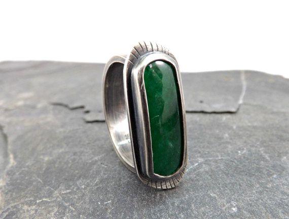 green jade ring dark silver statement ring green by CrazyAssJD