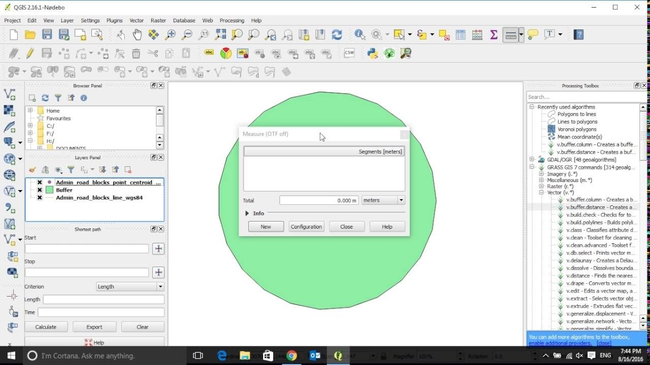 How to buffer point feature in QGIS 2 16 | Geospatial / GIS